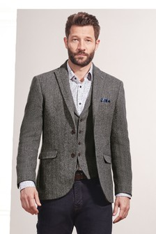 Grey Signature Herringbone Blazer