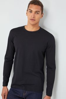 Black Long Sleeve Crew Neck T-Shirt