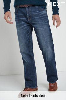 Mid Blue Wash Belted Jeans