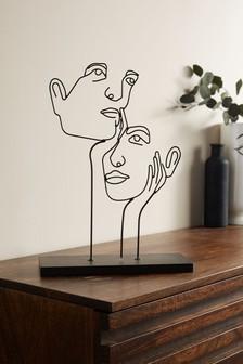 Black Black Wire Face Sculpture