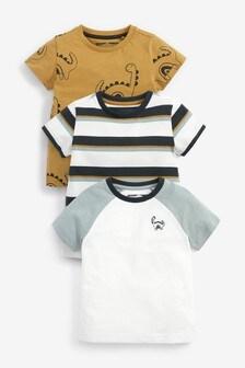 Multi 3 Pack Dino Printed T-Shirts (3mths-7yrs)