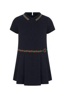 GUCCI Kids Girl Navy Cotton Dress