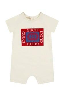 GUCCI Kids Baby Boys Cream Cotton Shortie
