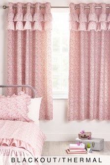 Pink Ditsy Floral Ruffle Eyelet Blackout Curtains