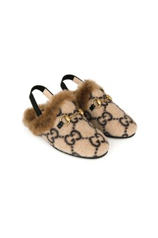 GUCCI Kids GG Wool Princetwon Slippers With Faux Fur