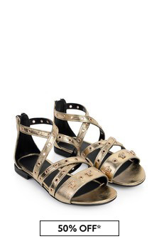Versace Girls Metallic Gold Leather Sandals