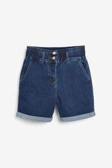 Dark Blue Elasticated Waist Denim Shorts
