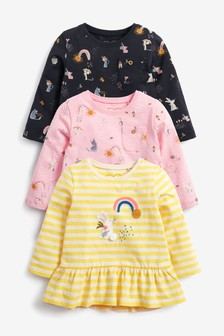 Multi 3 Pack Bunny Frill Long Sleeve T-Shirts (3mths-7yrs)