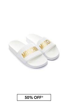 Moschino Kids White Sliders