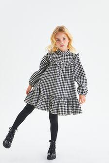 Mono Gingham Frill Detail Dress (3-16yrs)