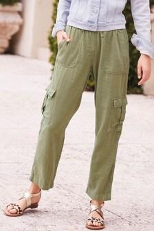 Khaki Linen Blend Utility Trousers