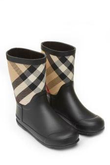 Burberry Kids Black And Vintage Check Rain Boots