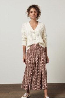 Brown Ditsy Midi Skirt