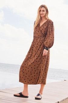Tan Spot Wrap Dress