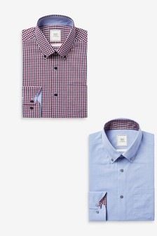Red/Navy Check/Blue Easy Iron Button Down Oxford Shirts 2 Pack