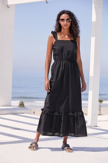Black Textured Maxi Dress