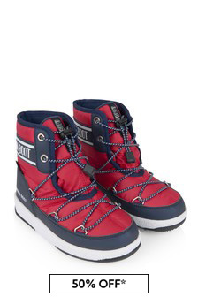 Moonboots Boys Red/Navy Mid Snow Boots