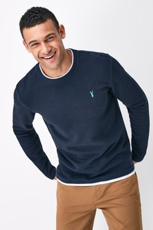 Navy Long Sleeve Mock Layer Crew Neck Top