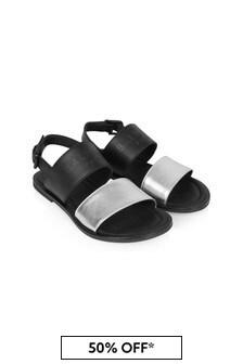 Balmain Girls Black Leather Sandals