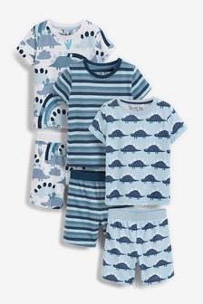 Blue Dinosaur 3 Pack Short Pyjamas (9mths-12yrs)