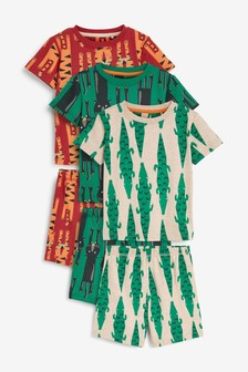 Multi Animal 3 Pack Short Pyjamas (9mths-12yrs)