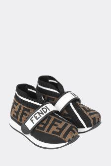 Fendi Kids Black/Brown Logo Trainers