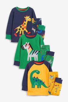 Blue/Green/Yellow Animals Snuggle Pyjamas 3 Pack (9mths-10yrs)
