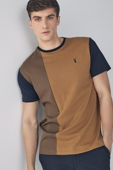 Tan/Navy Dogtooth Pattern T-Shirt