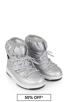Moonboots Girls Silver Nylon Snow Boots
