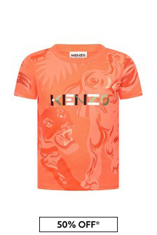 Kenzo Kids Boys Orange Cotton T-Shirt