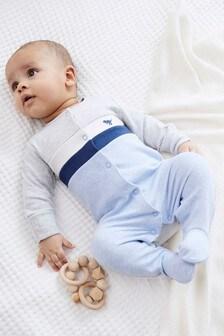Blue Colourblock Smart Sleepsuit (0-2yrs)