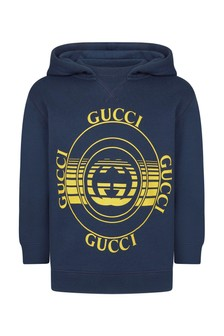 GUCCI Kids Boys Blue Cotton Hoody