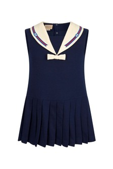 GUCCI Kids Girls Navy Cotton Dress