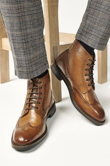 Tan Modern Heritage Leather Brogue Boots
