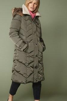 Khaki Longline Padded Jacket