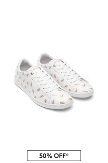 Lacoste Kids Girls White/Gold Trainers