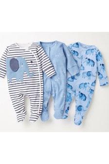 Blue Elephant 3 Pack Sleepsuits (0-2yrs)
