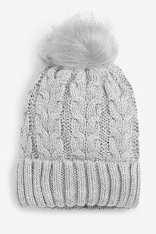 Grey Sparkle Cable Knit Pom Hat