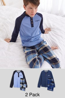 Blue Check Pyjamas 2 Pack (3-16yrs)