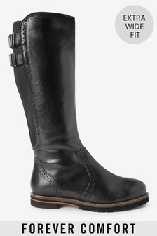 Black Forever Comfort® Long Brogue Boots