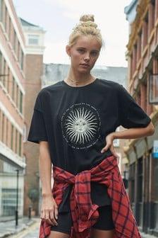 Black Oversized Sun Graphic T-Shirt
