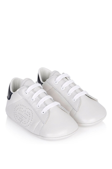 GUCCI Kids Baby White And Blue Leather New Ace Pre-walker Shoes