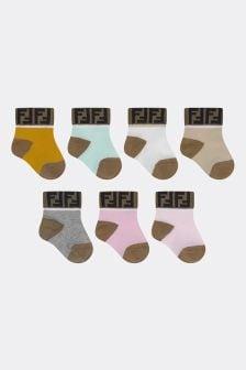 Fendi Kids Baby Girls Multicoloured Cotton Socks Seven Pack