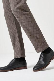 Black Motion Flex Leather Brogue Shoes