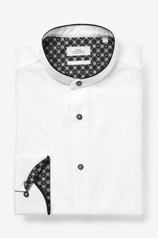 White Grandad Contrast Collar Shirt