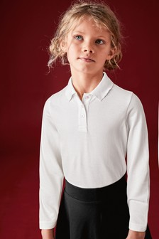 White 2 Pack Cotton Long Sleeve Polo Shirts (3-16yrs)