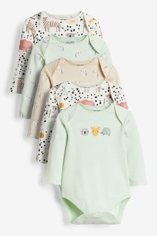 Pastel Characters 5 Pack Long Sleeve Bodysuits (0mths-3yrs)