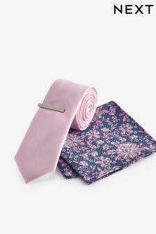 Pink/Blue Floral Tie, Pocket Square And Tie Clip Set