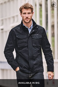Navy Shower Resistant Funnel Neck Utility Jacket With Storm Cuffs