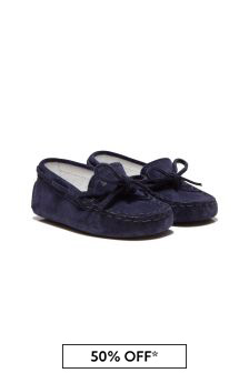 Tods Baby Navy Leather Loafers